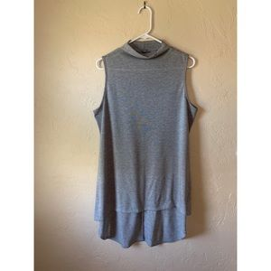 aerie Gray Dramatic High Low Dress Tank